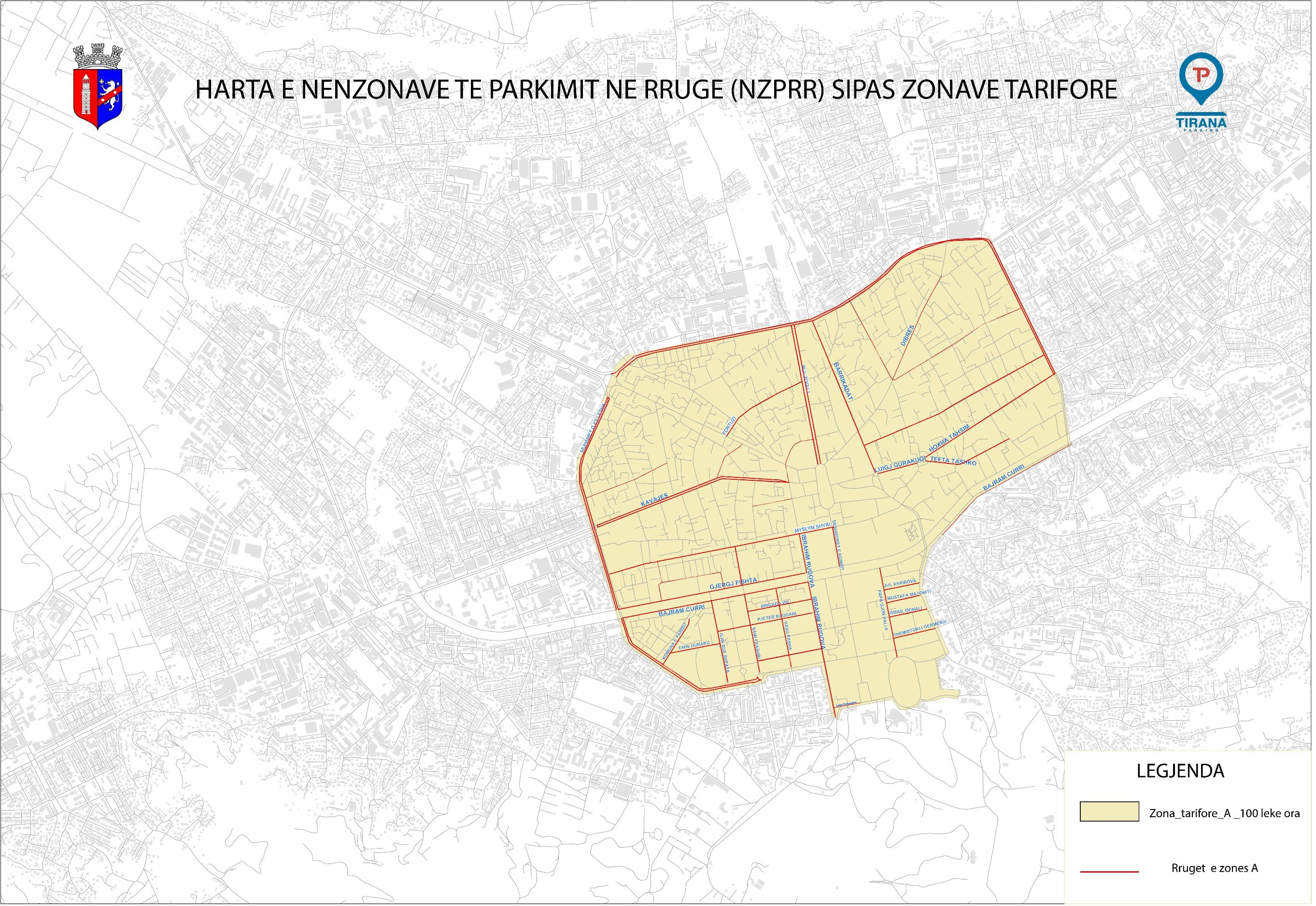 Harta zona tarifore A